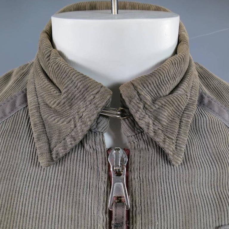 Men's DSQUARED2 38 Distressed Taupe Corduroy Cropped Zip Bomber Jacket 3