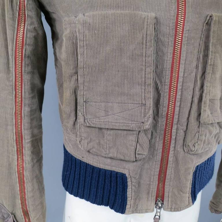Men's DSQUARED2 38 Distressed Taupe Corduroy Cropped Zip Bomber Jacket 5