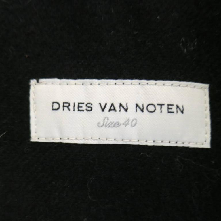 Dries van Noten Beige and Black Print Wool Pointed Lapel Jacket, Size 8  For Sale 2