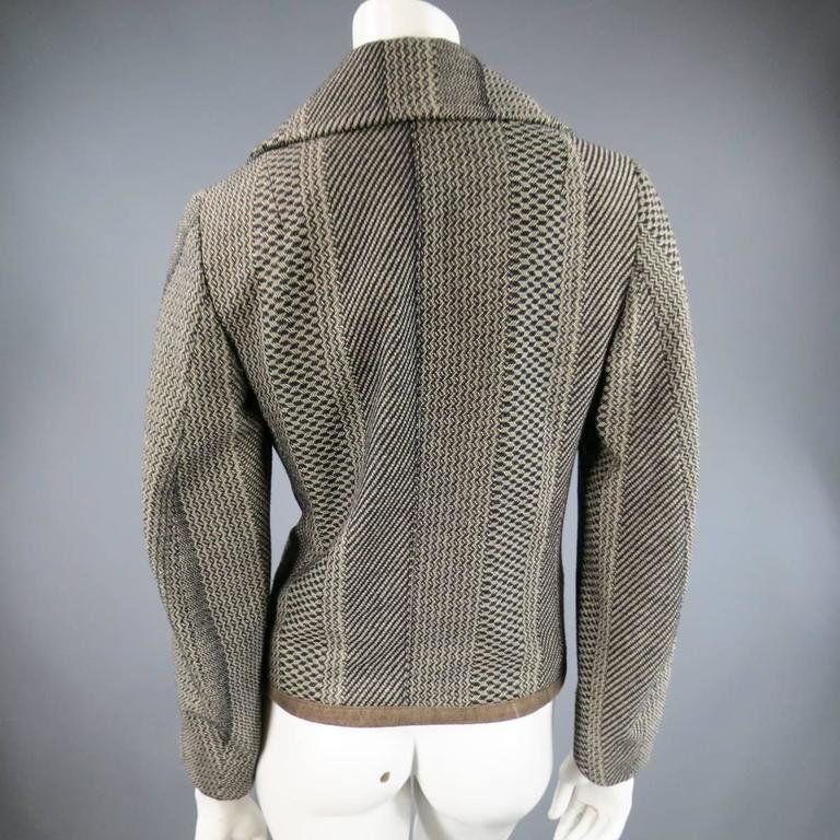 Women's Dries van Noten Beige and Black Print Wool Pointed Lapel Jacket, Size 8  For Sale