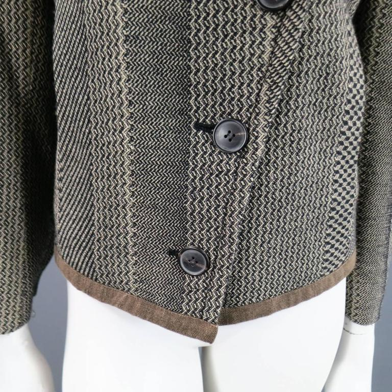 Gray Dries van Noten Beige and Black Print Wool Pointed Lapel Jacket, Size 8  For Sale