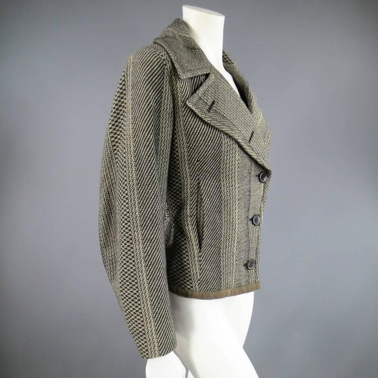 Dries van Noten Beige and Black Print Wool Pointed Lapel Jacket, Size 8  In Excellent Condition For Sale In San Francisco, CA