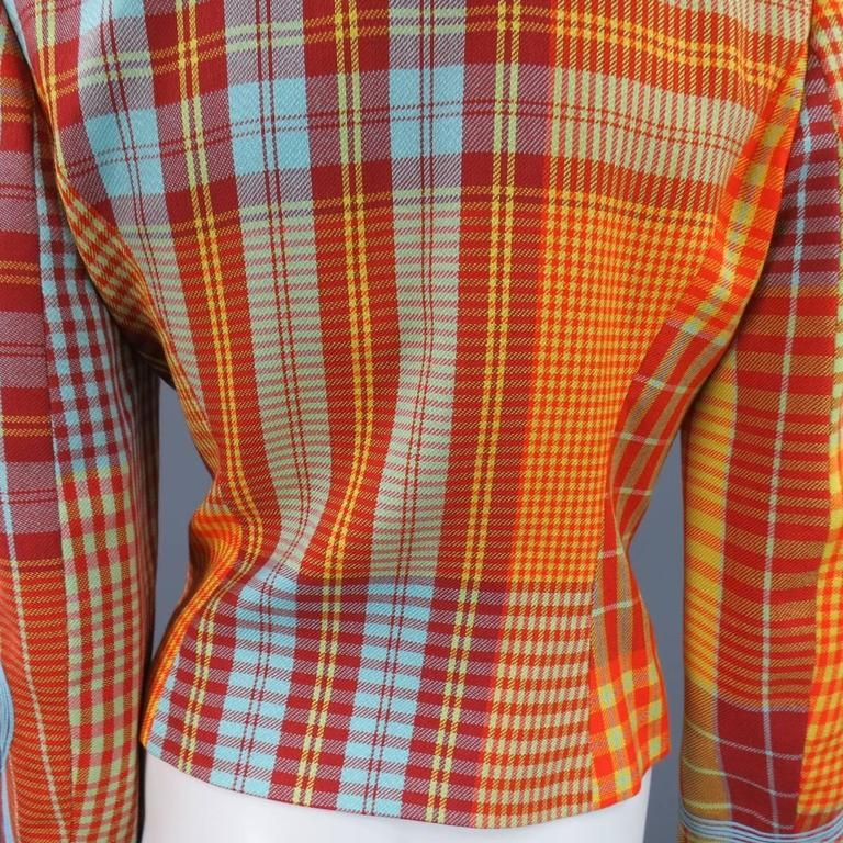 christian lacroix size 6 orange and yellow plaid hook eye jacket for sale at 1stdibs. Black Bedroom Furniture Sets. Home Design Ideas