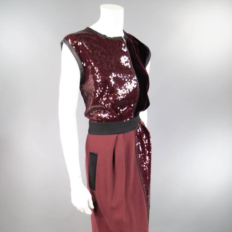 Black MARC JACOBS Size 4 Burgundy Sequin & Velvet Patchwork Cocktail Dress For Sale