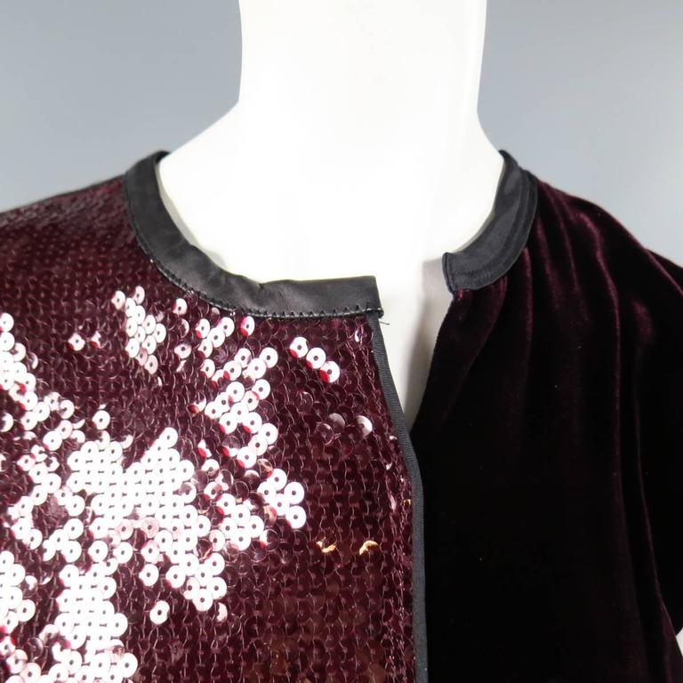 MARC JACOBS Size 4 Burgundy Sequin & Velvet Patchwork Cocktail Dress In Excellent Condition For Sale In San Francisco, CA