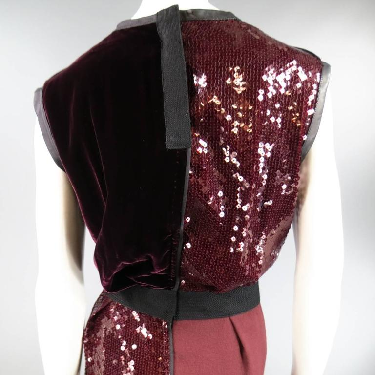MARC JACOBS Size 4 Burgundy Sequin & Velvet Patchwork Cocktail Dress For Sale 2