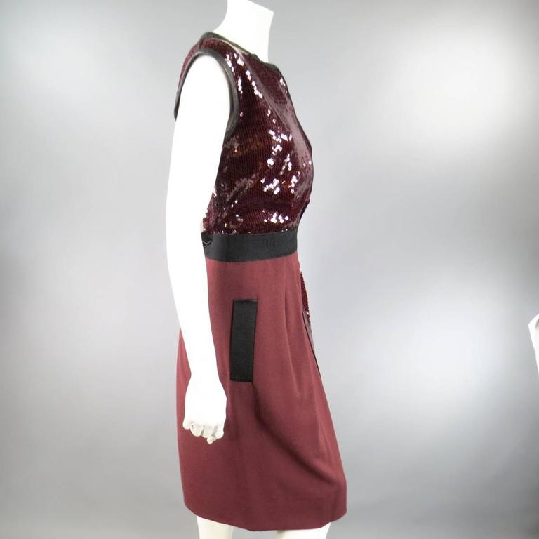 Women's MARC JACOBS Size 4 Burgundy Sequin & Velvet Patchwork Cocktail Dress For Sale