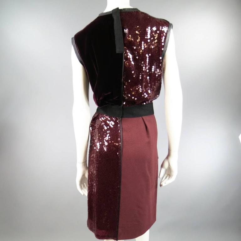 MARC JACOBS Size 4 Burgundy Sequin & Velvet Patchwork Cocktail Dress For Sale 1