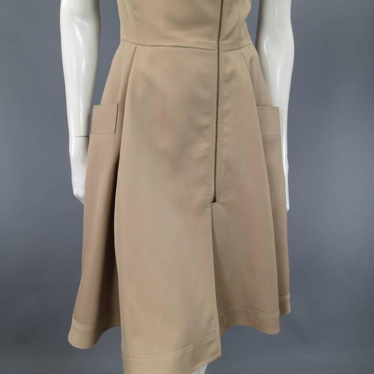 OSCAR DE LA RENTA Size 6 Beige Virgin Wool / Silk Short Embellished A Line Dress 4