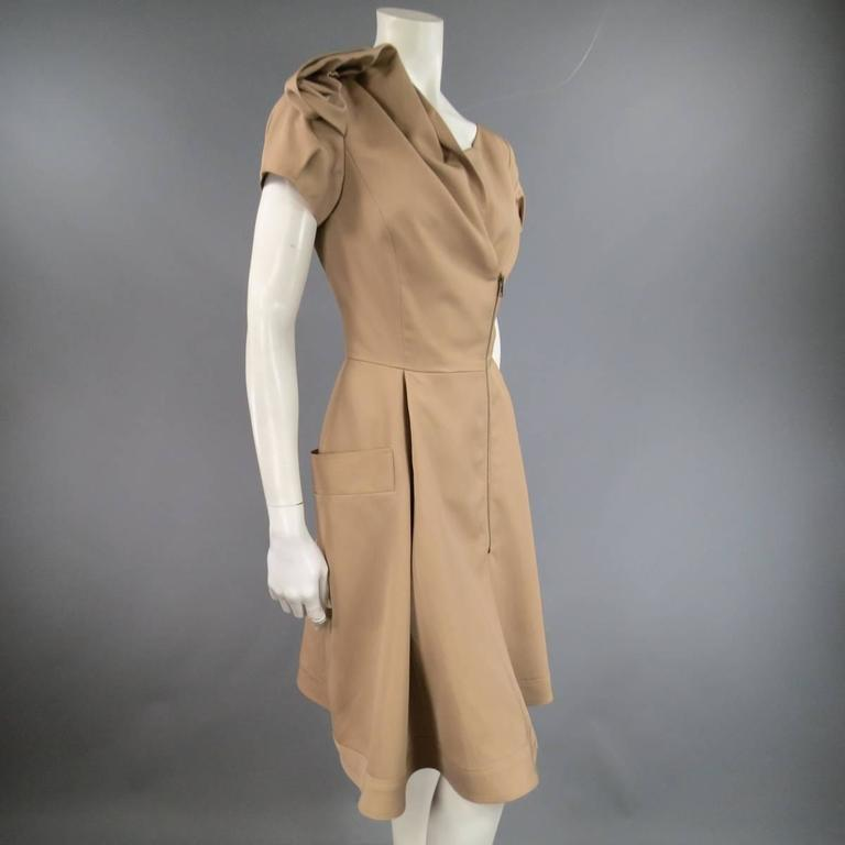 OSCAR DE LA RENTA Size 6 Beige Virgin Wool / Silk Short Embellished A Line Dress 5