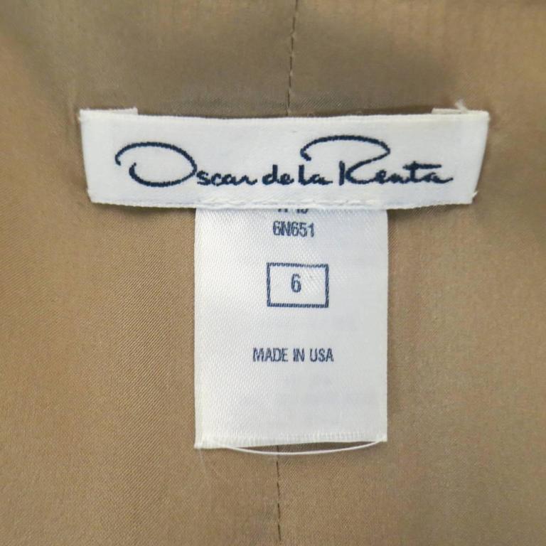 OSCAR DE LA RENTA Size 6 Beige Virgin Wool / Silk Short Embellished A Line Dress 7
