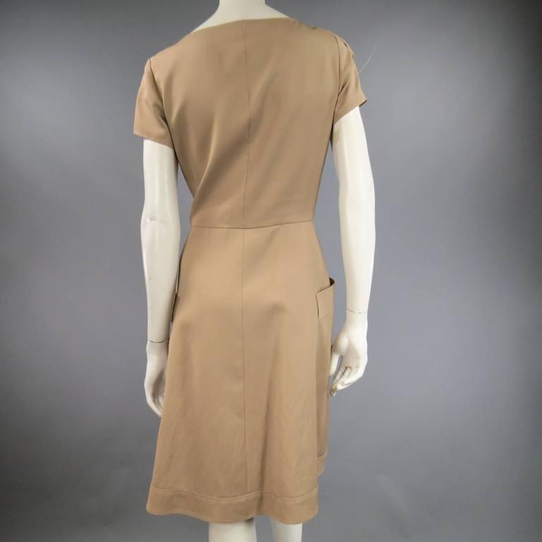 OSCAR DE LA RENTA Size 6 Beige Virgin Wool / Silk Short Embellished A Line Dress 6