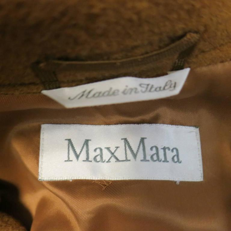 MAX MARA Size 6 Light Brown Virgin Wool/Cashmer Top Stitch Long Coat For Sale 3