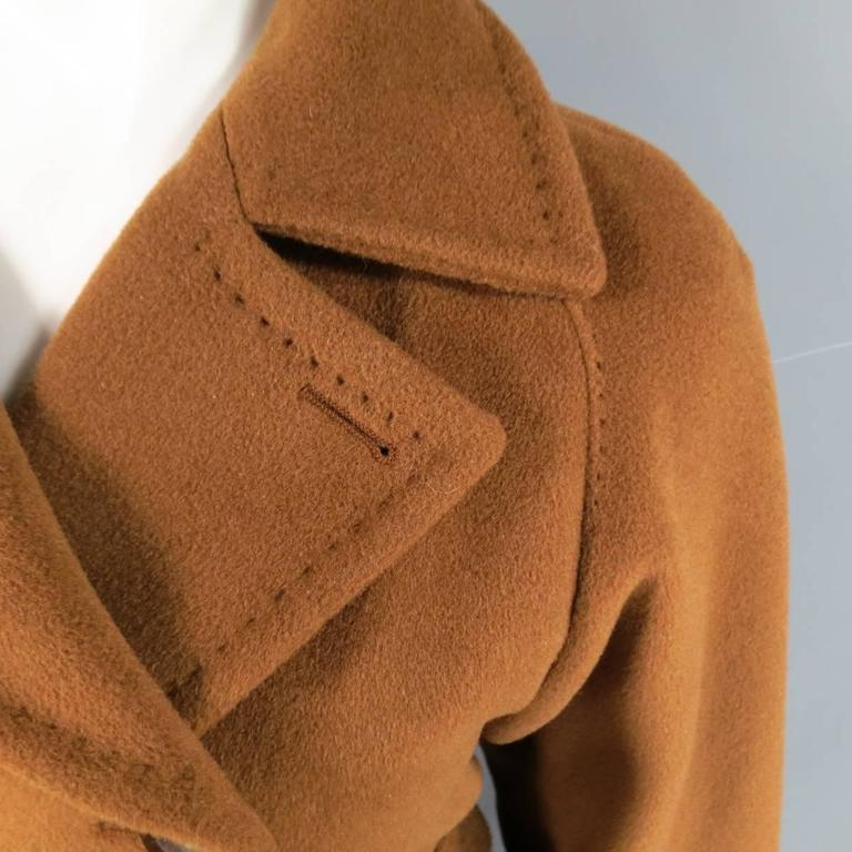 Women's MAX MARA Size 6 Light Brown Virgin Wool/Cashmer Top Stitch Long Coat For Sale