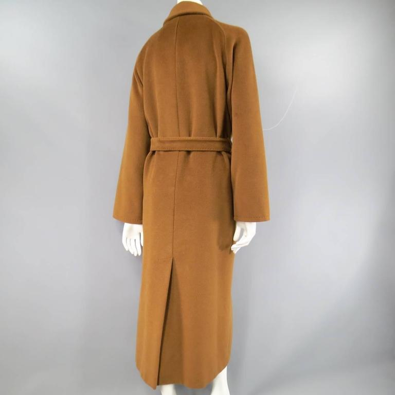 MAX MARA Size 6 Light Brown Virgin Wool/Cashmer Top Stitch Long Coat For Sale 4