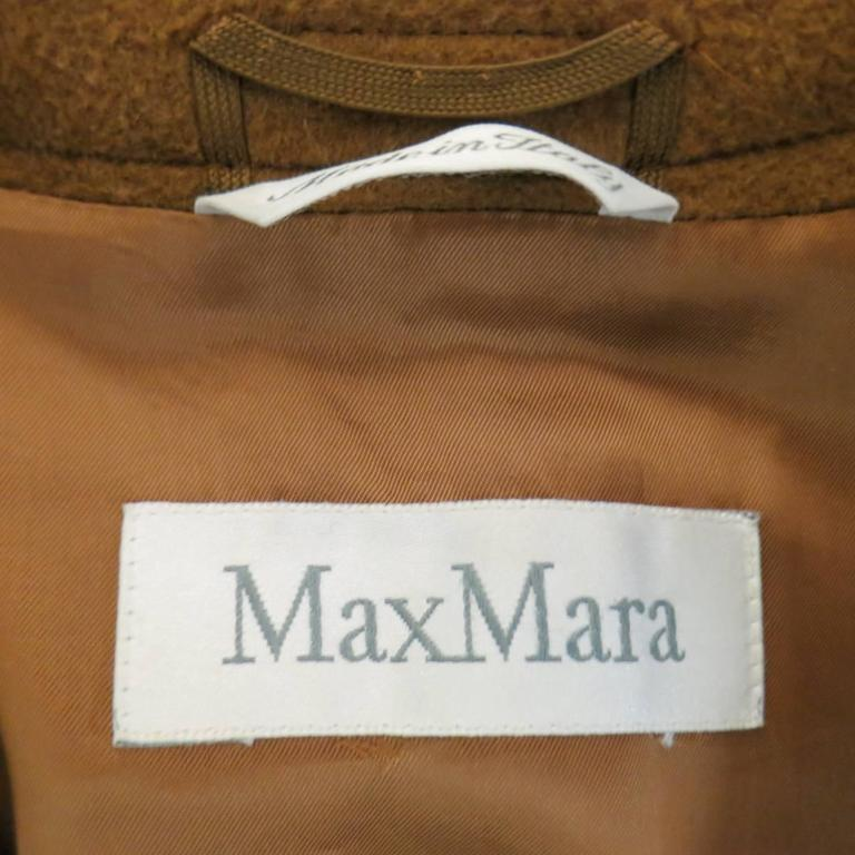 MAX MARA Size 6 Light Brown Virgin Wool/Cashmer Top Stitch Long Coat For Sale 6