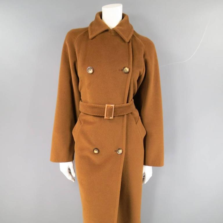 MAX MARA Size 6 Light Brown Virgin Wool/Cashmer Top Stitch Long Coat In Excellent Condition For Sale In San Francisco, CA
