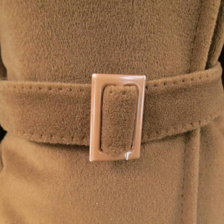 MAX MARA Size 6 Light Brown Virgin Wool/Cashmer Top Stitch Long Coat For Sale 1