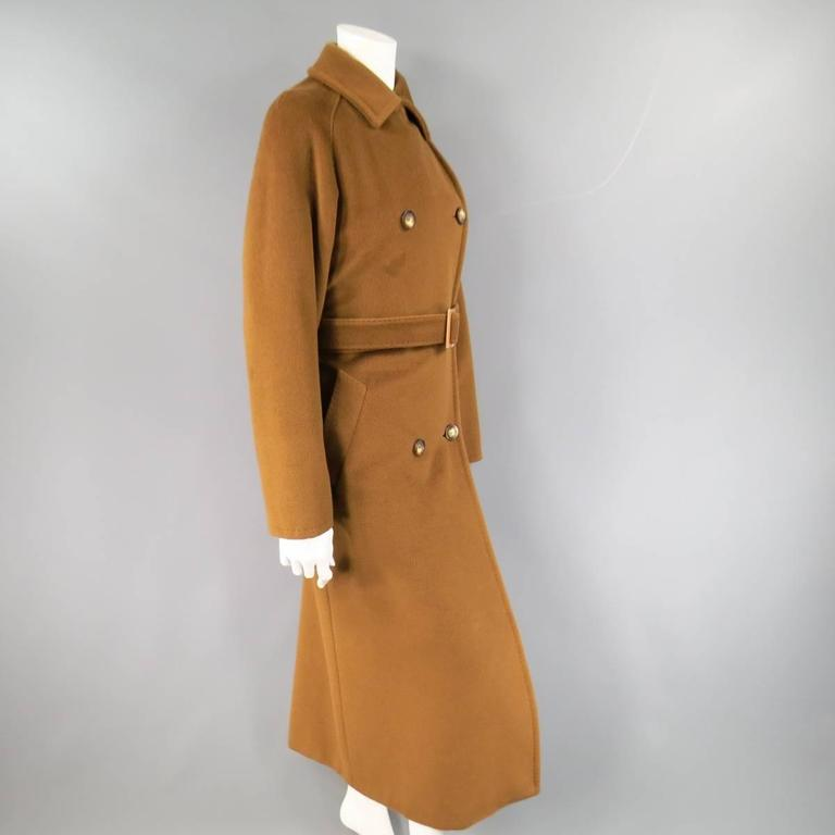 MAX MARA Size 6 Light Brown Virgin Wool/Cashmer Top Stitch Long Coat For Sale 2