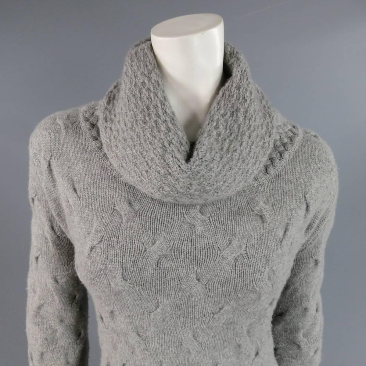 Knitting Pattern Cashmere Cowl : LORO PIANA Size L Grey Cashmere Textured Knit Cowl Neck Dress For Sale at 1st...