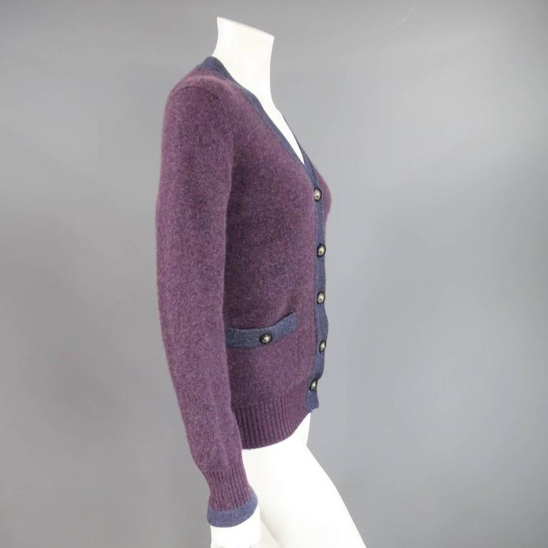 CHANEL Size 10 Two Tone Purple Lion Head Button Cashmere Cardigan 2