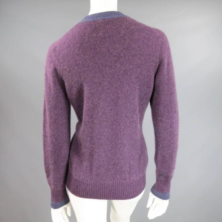 CHANEL Size 10 Two Tone Purple Lion Head Button Cashmere Cardigan 3