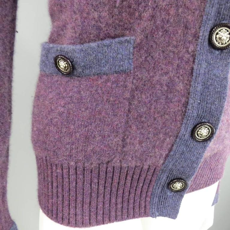 CHANEL Size 10 Two Tone Purple Lion Head Button Cashmere Cardigan 4