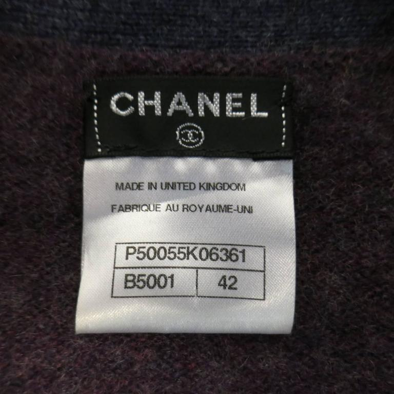 CHANEL Size 10 Two Tone Purple Lion Head Button Cashmere Cardigan 7
