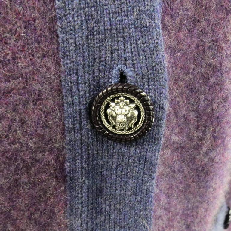 CHANEL Size 10 Two Tone Purple Lion Head Button Cashmere Cardigan 5