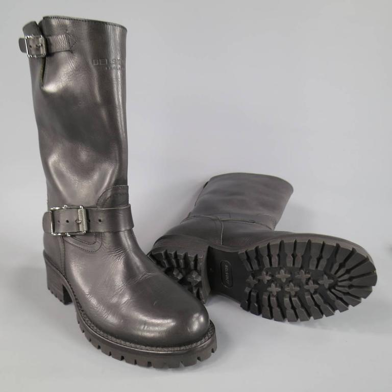 Men's BELSTAFF Boots - Size 7 Black Leather FULHAM MOTO Biker Boots In Excellent Condition For Sale In San Francisco, CA