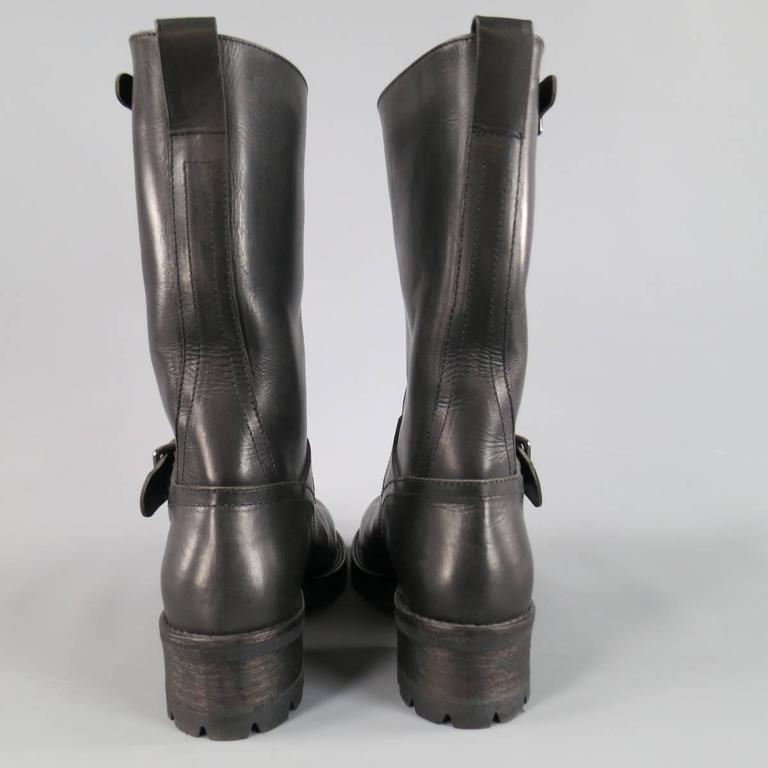 Men's BELSTAFF Boots - Size 7 Black Leather FULHAM MOTO Biker Boots For Sale 2