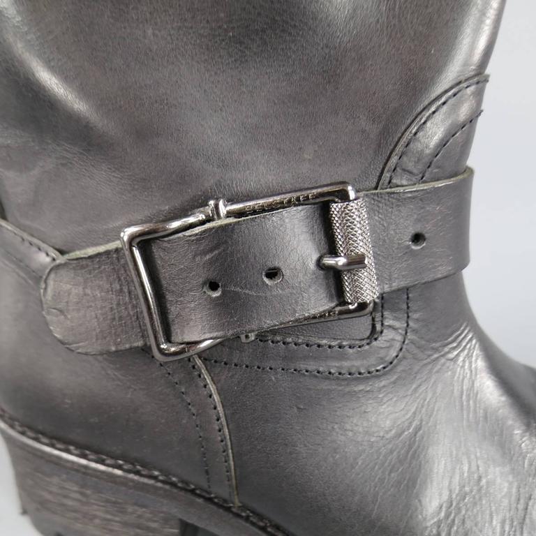 Men's BELSTAFF Boots - Size 7 Black Leather FULHAM MOTO Biker Boots For Sale 5