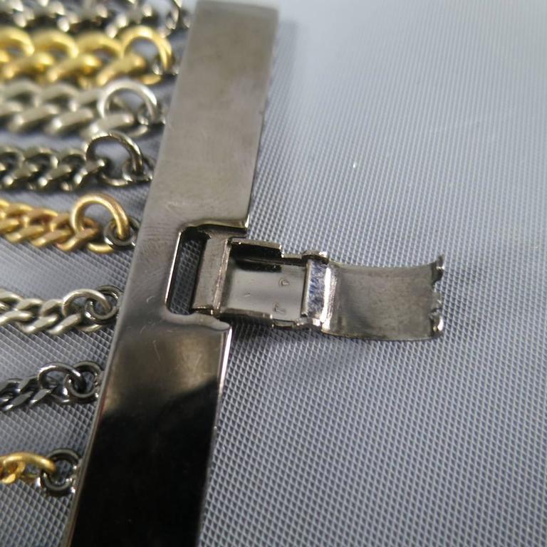 JEAN PAUL GAULTIER Silver Gold & Gunmetal Multi Chain Cuff Bracelet For Sale 1