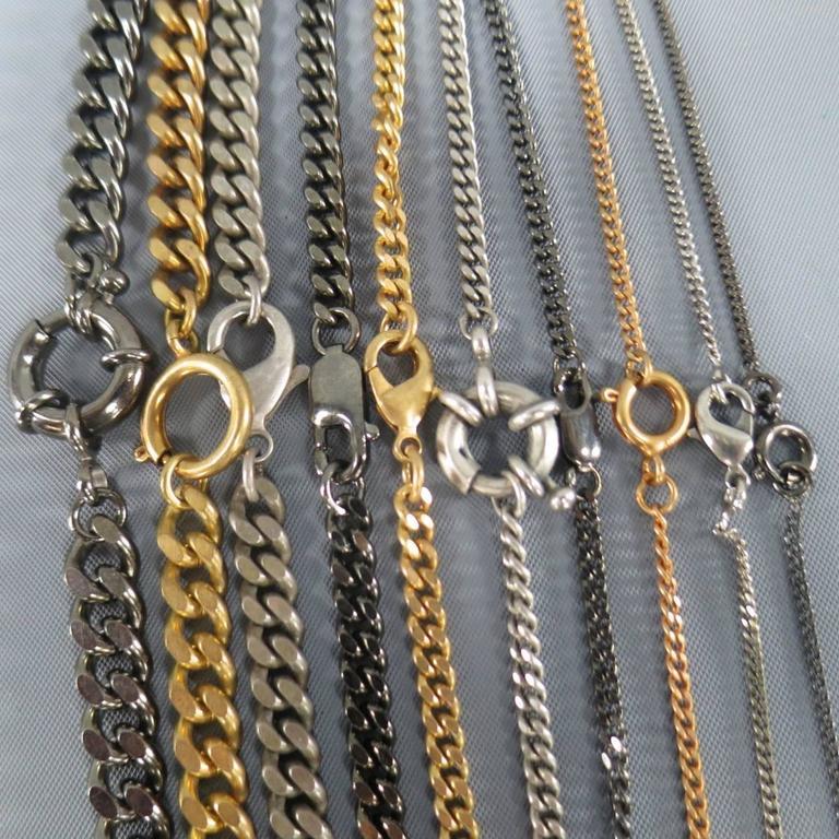 Women's or Men's JEAN PAUL GAULTIER Silver Gold & Gunmetal Multi Chain Cuff Bracelet For Sale
