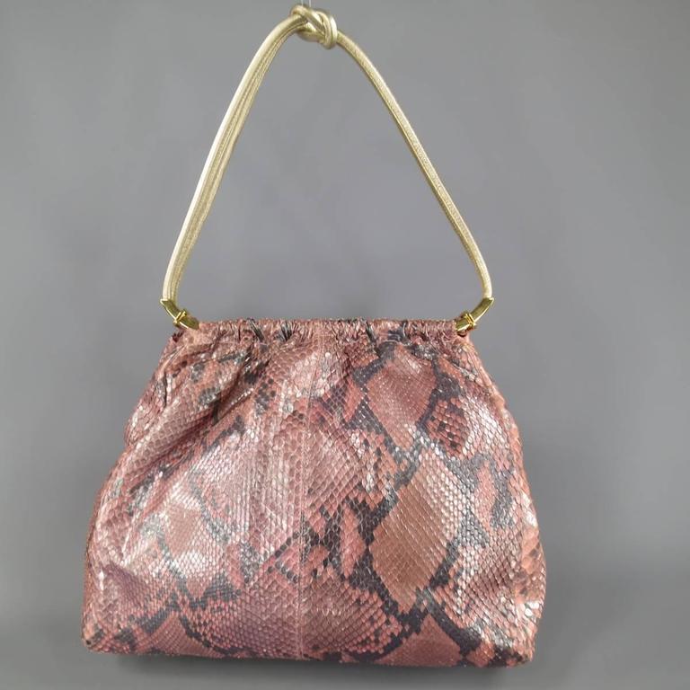 GIANNI VERSACE Metallic Pink Python Gold Leather Knot Handle Bag 6
