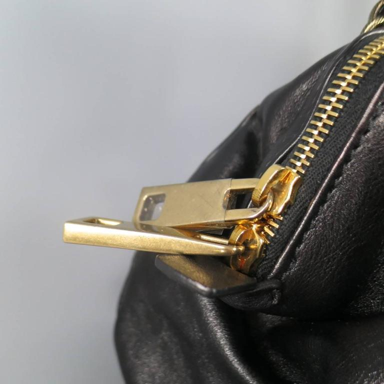 MARC JACOBS Black Gathered Leather Gold Chain Handbag For Sale 2
