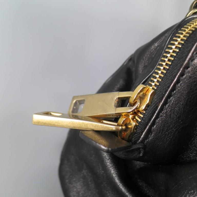 MARC JACOBS Black Gathered Leather Gold Chain Handbag 6