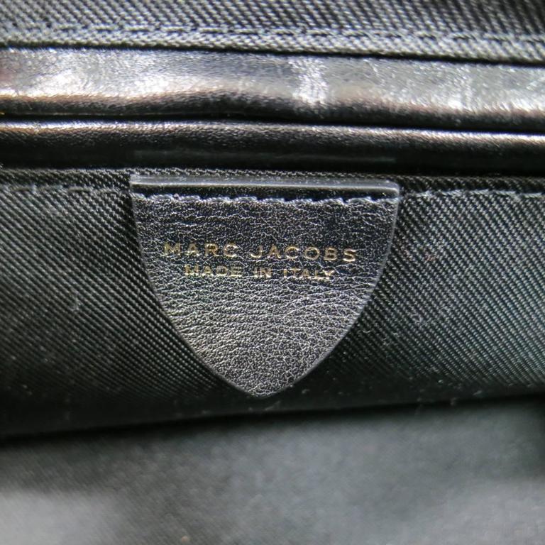 MARC JACOBS Black Gathered Leather Gold Chain Handbag 9