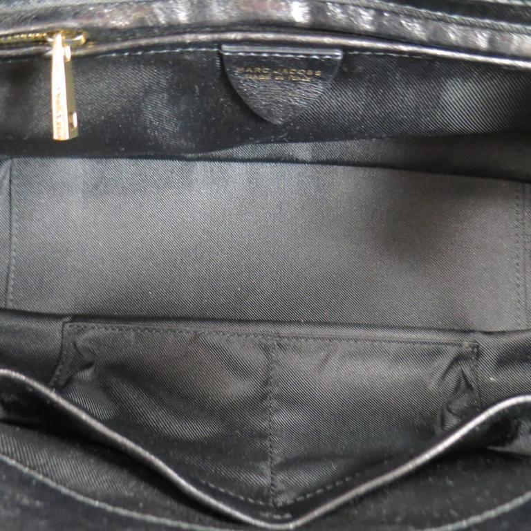 MARC JACOBS Black Gathered Leather Gold Chain Handbag 10