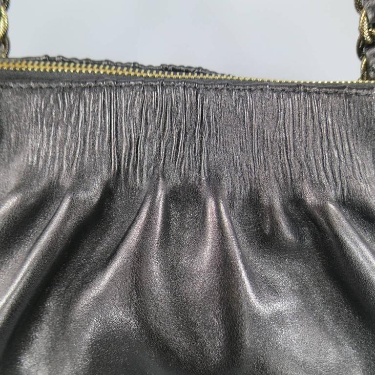 MARC JACOBS Black Gathered Leather Gold Chain Handbag 3