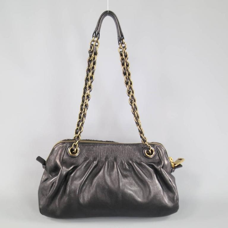 MARC JACOBS Black Gathered Leather Gold Chain Handbag 8