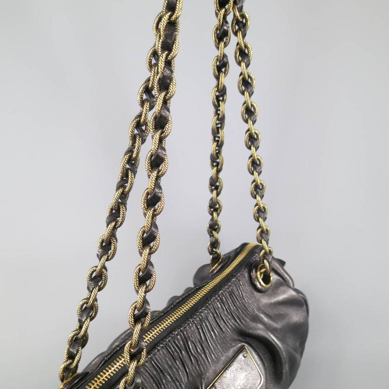 MARC JACOBS Black Gathered Leather Gold Chain Handbag 4