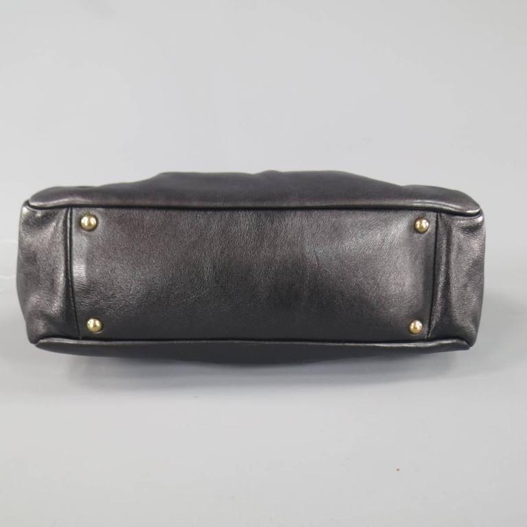 MARC JACOBS Black Gathered Leather Gold Chain Handbag 7