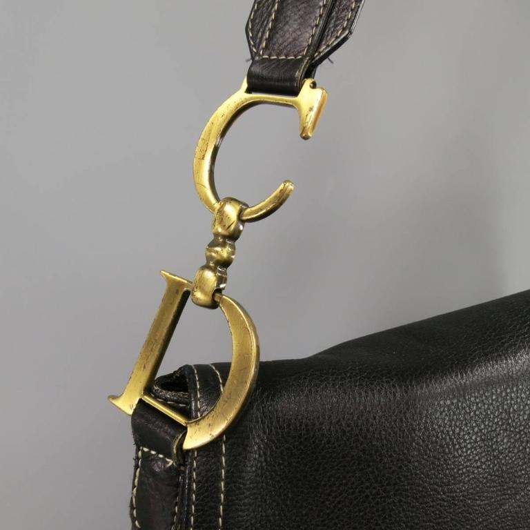Christian Dior Black Leather Large Crossbody Saddle Bag At
