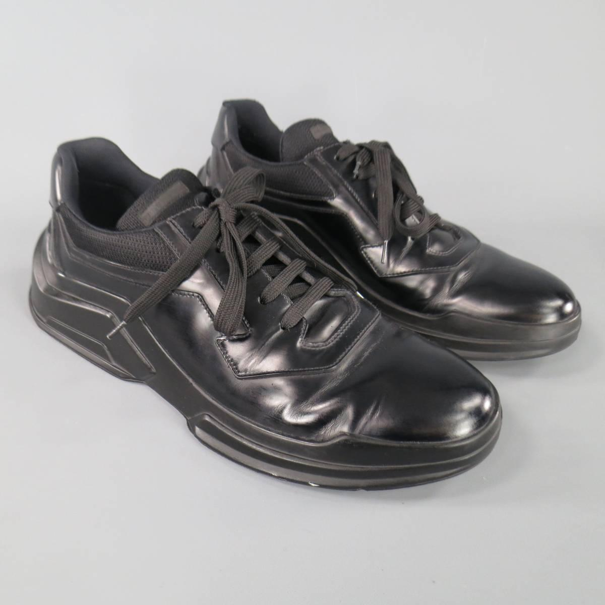 Men S Prada Size 11 Black Leather Thick Rubber Sole Lace
