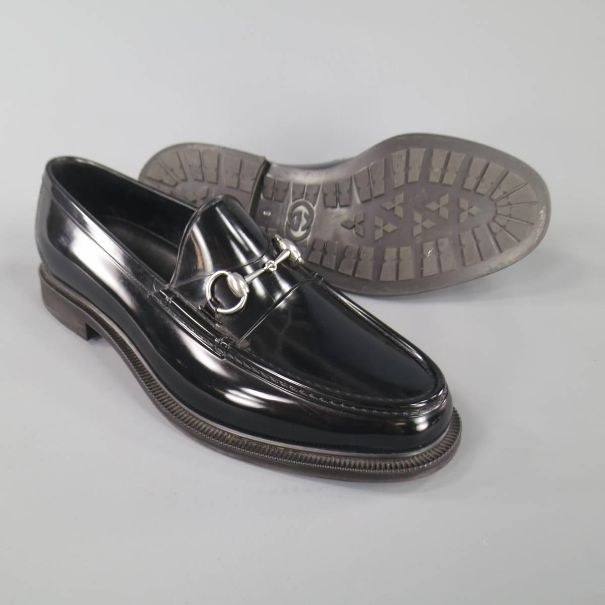 Men S Gucci Size 10 Black Rubber Silver Horsebit Loafers