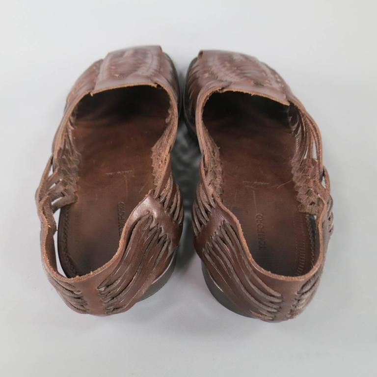 e61a681ba4b02 Men s TOM FORD Size 11.5 Brown Woven Leather Closed Toe Huaraches Sandals  For Sale 3