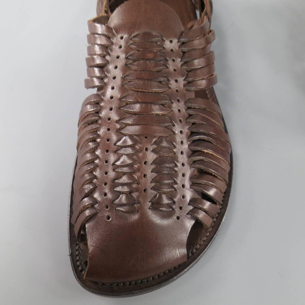 Men S Tom Ford Size 11 5 Brown Woven Leather Closed Toe