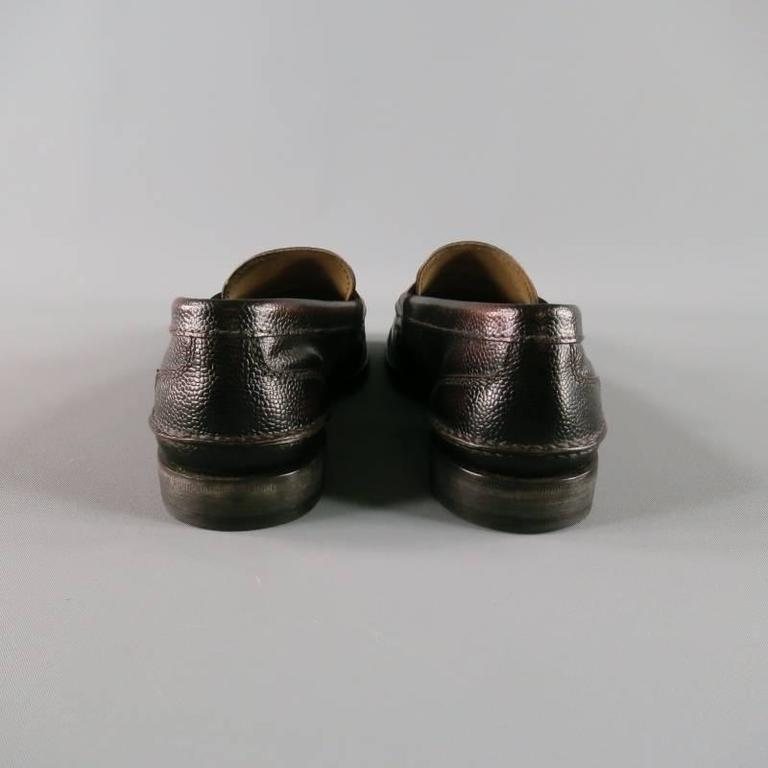 Black Men's PRADA Size 8 Distressed Brown Pebbled Leather Penny Loafers For Sale