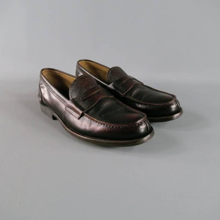 Men's PRADA Size 8 Distressed Brown Pebbled Leather Penny Loafers For Sale 1
